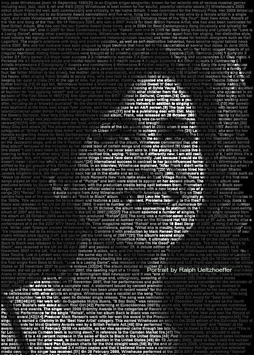 Amy Winehouse, Text Portrait, Ralph Ueltzhoeffer (*1983)