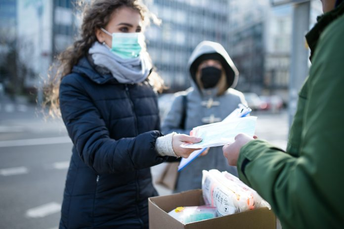 Coronavirus in city, prevention and protection concept