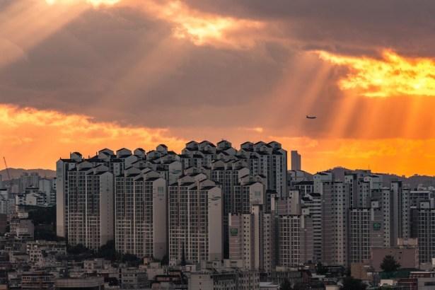 Una imagen del atardecer en Seúl