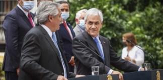 El Presidente Piñera y su par argentino Alberto Fernández en una visita reciente del mandatario trasandino