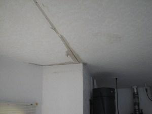 Skip trowel ceiling repair - Before photo