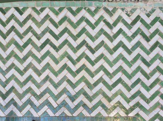 tiles floor morocco herringbone green