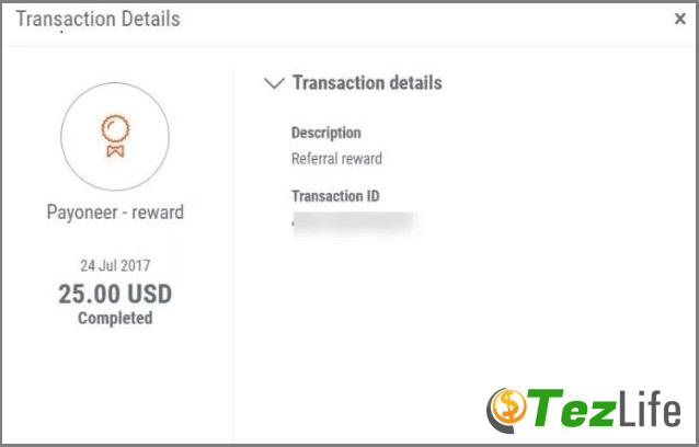 payoneer Free 25 usd Registration Bonus