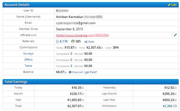 ysens (clixsense) payment proof