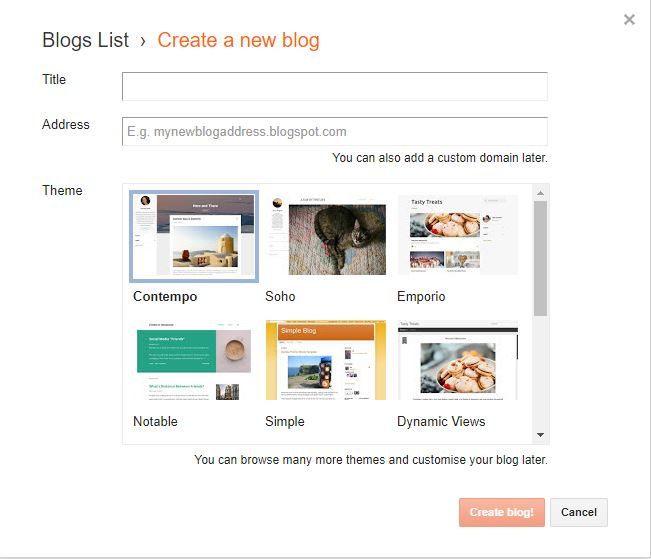 Create New Blog Page of Blogger