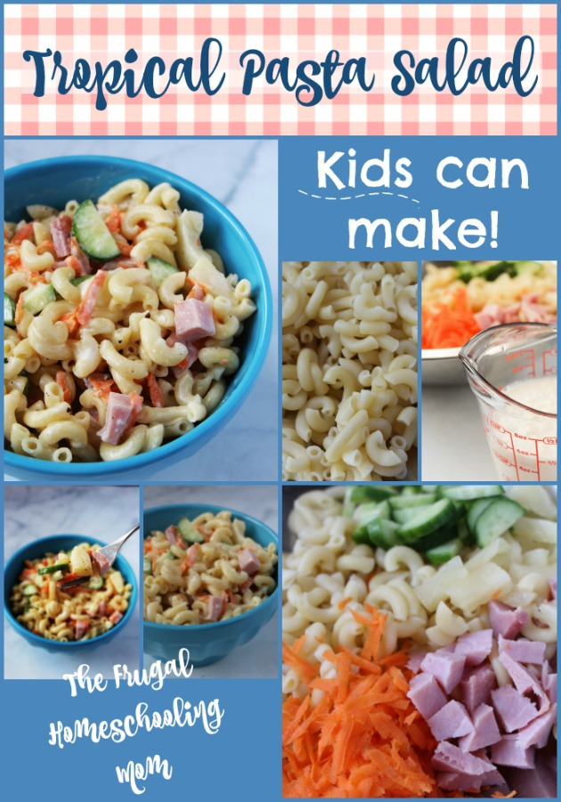 Frugal homeschool family recipes kids can make macaroni pasta salad with pineapple