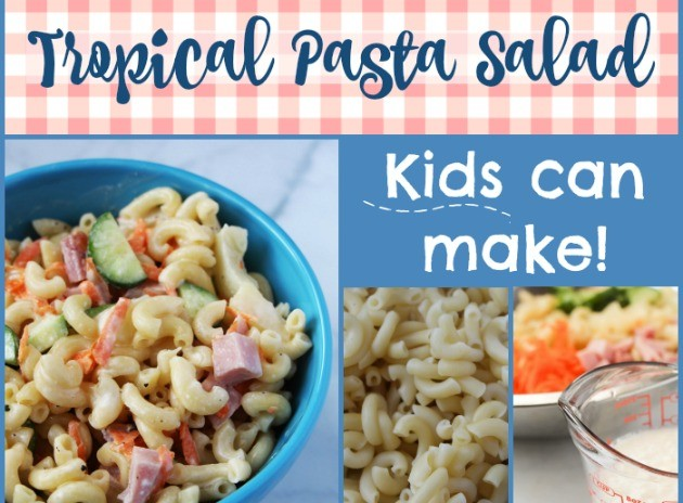 Frugal homeschool family recipes kids can make tropical macaroni pasta salad with pineapple