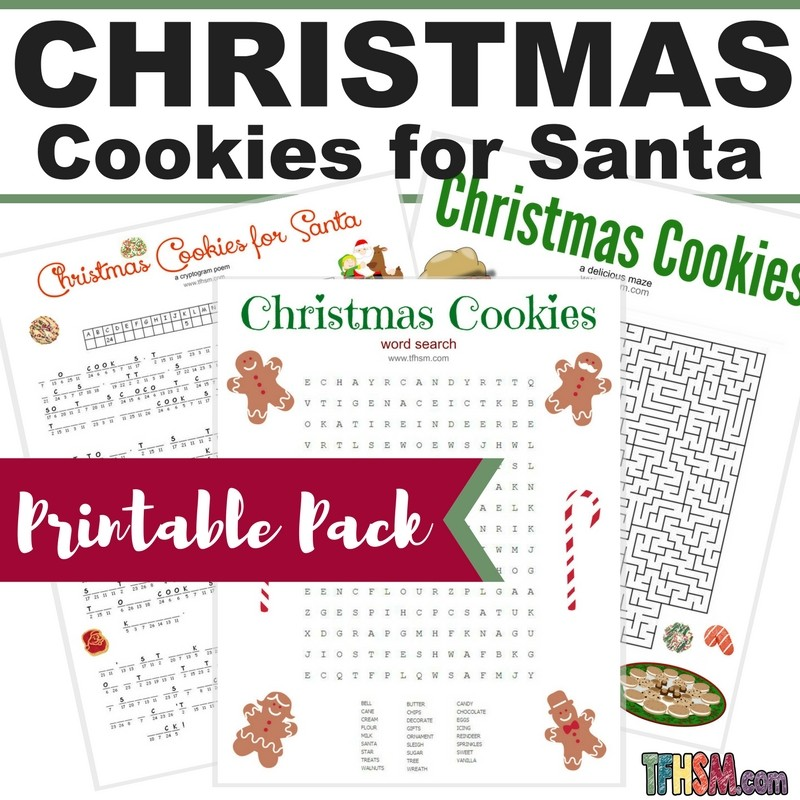 Free printable Christmas Cookies for Santa wordsearch cryptogram poem activities s