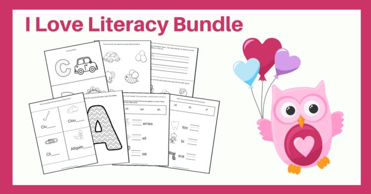 Printable Literacy Bundle Pre-K Kindergarten 1st 2nd grades plus freebie