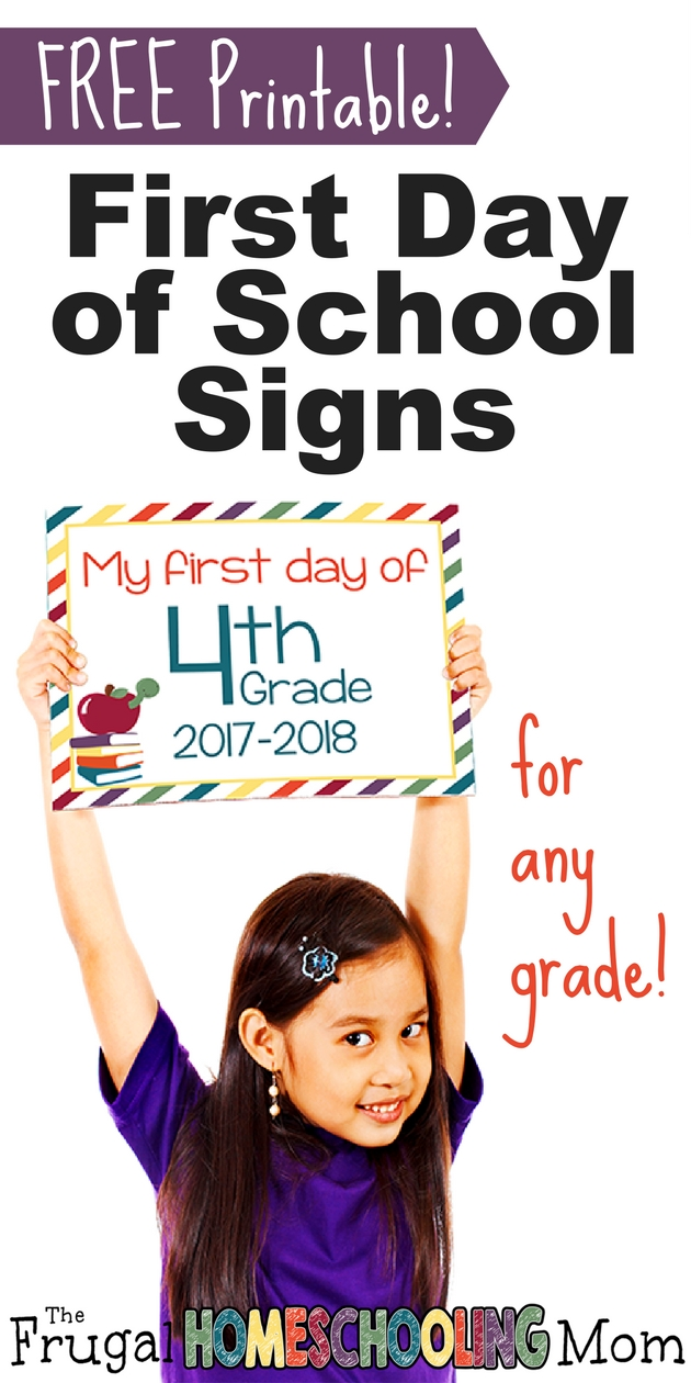 FREE Printable First Day Back to School Photo Prop Signs Bright and Colorful - The Frugal Homeschooling Mom
