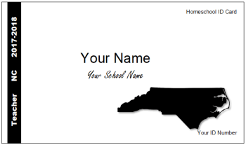 NC homeschool identification ID card teacher