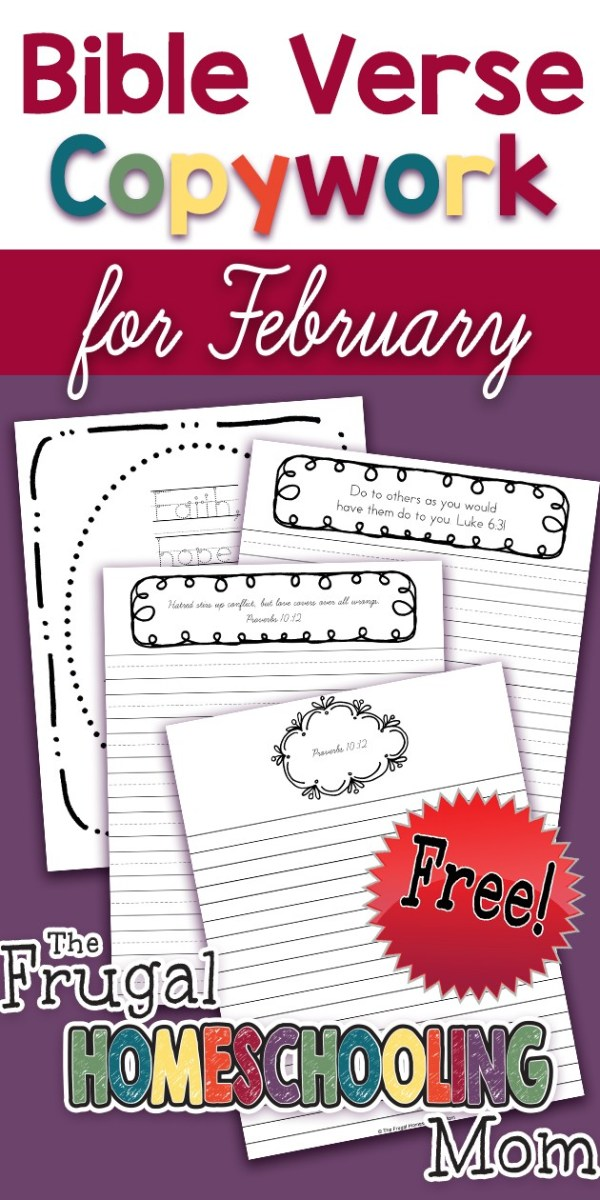Free Bible Verse Copywork Pages for February Love by TFHSM