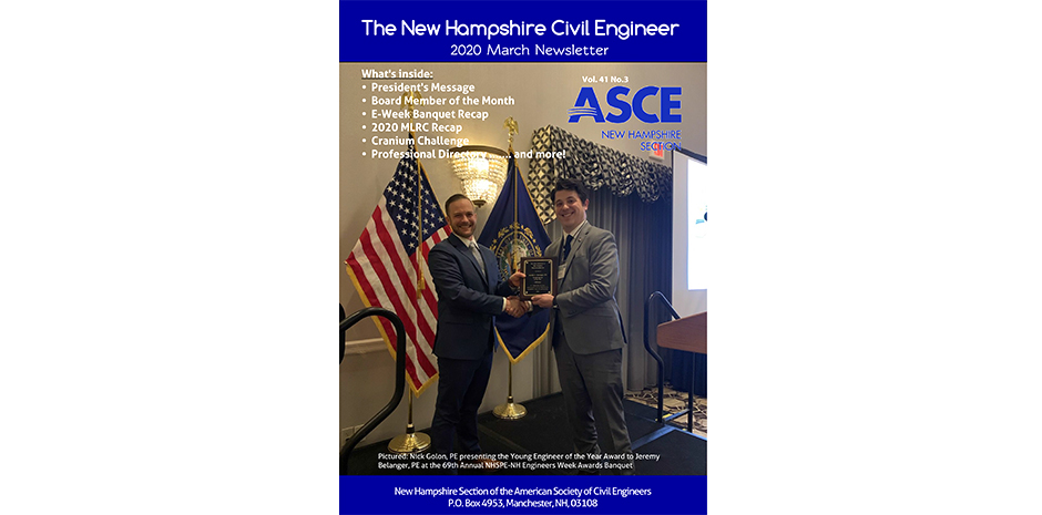 Jeremy Belanger on ASCE-NH Cover of March Newsletter