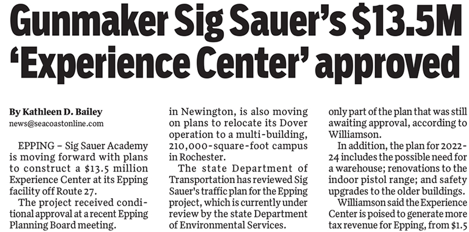 TFMoran civil engineers for Sig Sauer project published in Portsmouth Herald