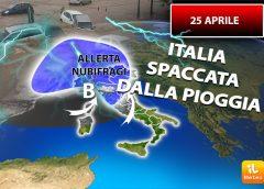 Meteo giovedì 25 Aprile, Italia spaccata, piogge al nord estate al sud
