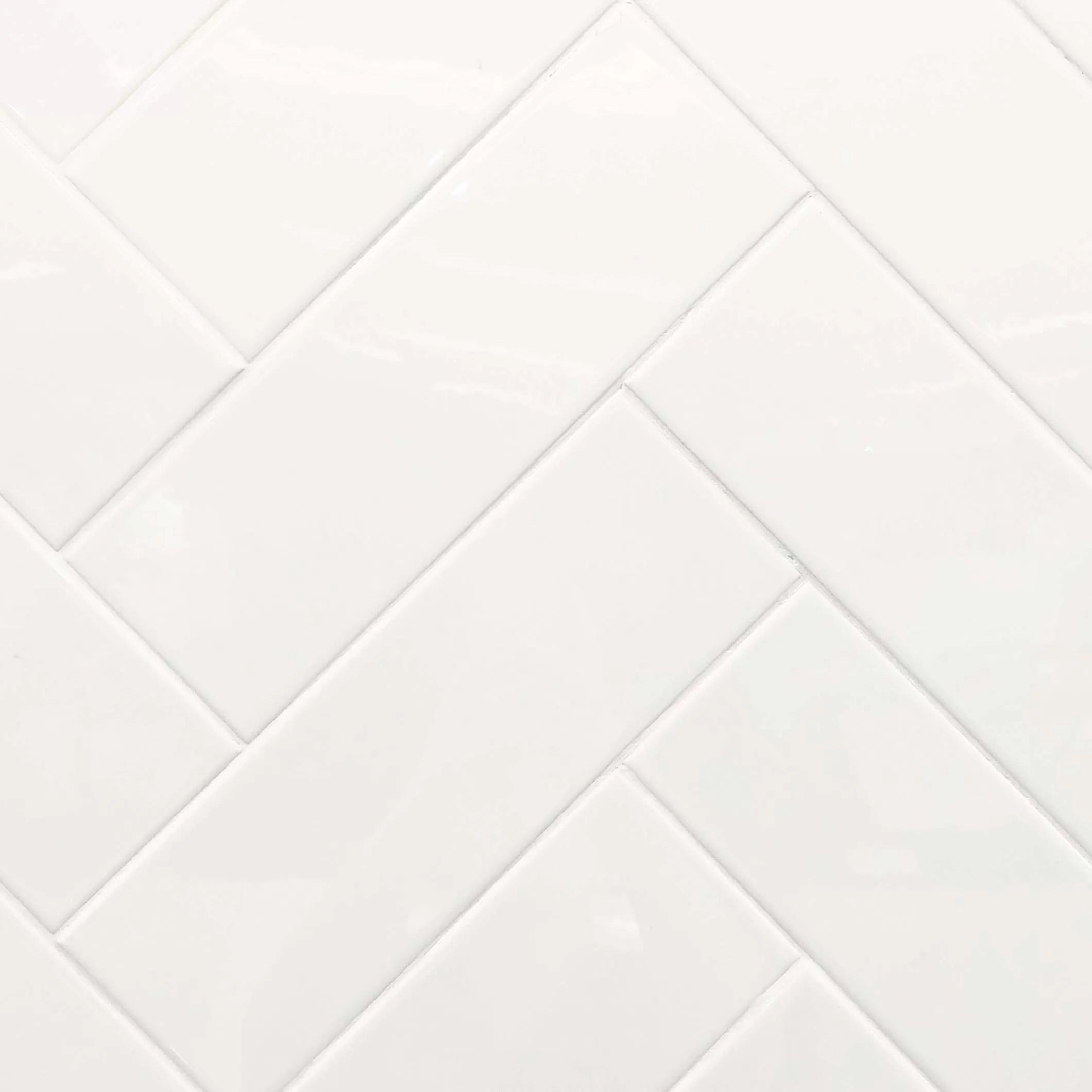 gloss white ceramic subway wall tile 4107