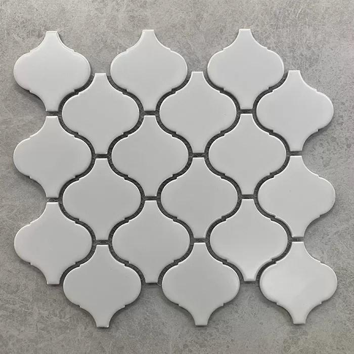 245x278mm arabesque lantern matt white porcelain mosaic 7139