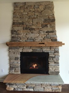 Rustic Stone/Antique Barn Wood Mantle Fireplace