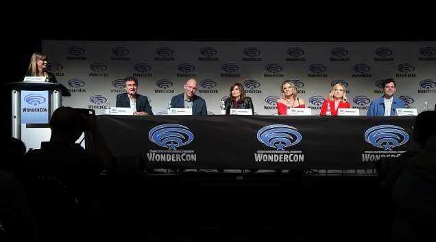 "ANAHEIM, CA - MARCH 24: (L-R) Moderator Laura Prudom, Doug Liman, Gene Klein, Lauren LeFranc, Missi Pyle, Maddie Hasson, and Daniel Maslany onstage at Executive Producers, Showrunner & Stars of New YouTube Red Original Series ""Impulse"" Debut Never-Before-Seen Footage for Fans at WonderCon Panel at Anaheim Convention Center on March 24, 2018 in Anaheim, California. (Photo by Michael Kovac/Getty Images for YouTube)"
