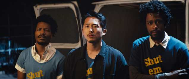 (l to r.) Jermaine Fowler as Salvador, Steven Yuen as Squeeze and Lakeith Stanfield as Cassius Green star in Boots Riley's SORRY TO BOTHER YOU, an Annapurna Pictures release.