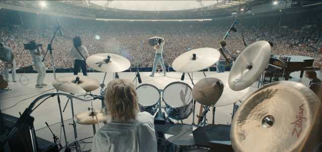 L-R: Gwilym Lee (Brian May), Ben Hardy (Roger Taylor), Rami Malek (Freddie Mercury), and Joe Mazzello (John Deacon) star in Twentieth Century Fox's BOHEMIAN RHAPSODY. Photo Credit: Courtesy Twentieth Century Fox.
