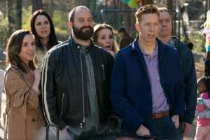 Allyn Rachel, Britt Rentschler, Tom Segura, Julie Hagerty, Jody Thompson and Michael O'Keefe in Instant Family from Paramount Pictures.