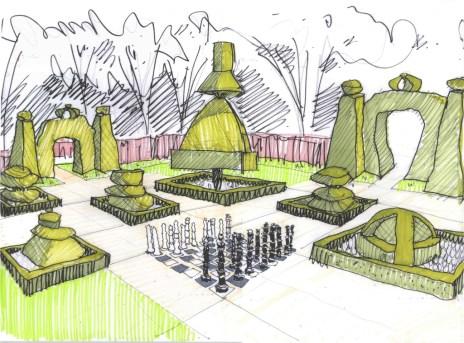 chess garden sketch