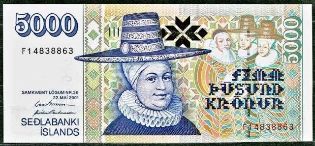Island bankovky - 5000 Kronur