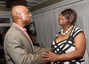"Secretary of Health and Social Services Claudia Groome-Duke, right, chats with Dr. Gerard Antoine at a Meet and Greet for conference attendees on Friday (June 12) during the second annual Medical Conference, themed ""Cancers in the Caribbean: Giving Back 2015"" at the Magdalena Grand Beach and Golf Resort, Lowlands. Photo courtesy THA Info Dept"