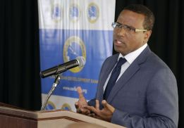 Caribbean Development Bank Director, Economics Dr Justin Ram speaks at the presentation.