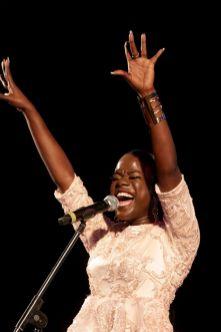 Tobago's soca princess, Adana, delivers an energetic performance.