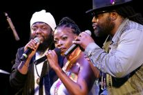 """Vibes from siblings, from left, Peter Morgan, Una Morgan and Roy """"Gramps"""" Morgan during Saturday night's performance."""