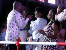Wyclef, left, encourages officials in the VVIP section to show off their moves. They included, from left to right, Chief Secretary Kelvin Charles and his wife Catherine Charles, as well as Secretary of Tourism, Culture and Transportation Nadine Stewart-Phillips.