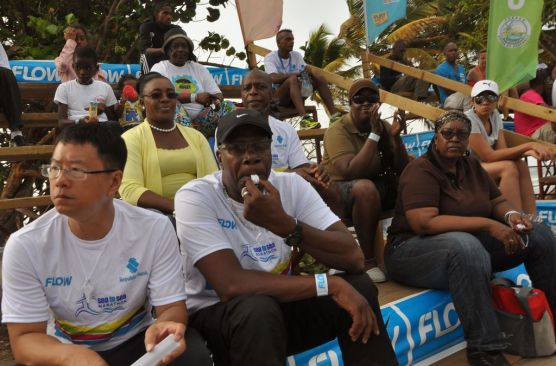 The crowd wait for the runners during the Sea to Sea Marathon.