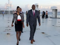 Chief Secretary Kelvin Charles, right, and Secretary of Tourism, Culture and Transportation Nadine Stewart-Phillips, on the deck of the Cabo Star.