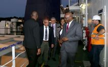 Chief Secretary Kelvin Charles, Secretary of Tourism, Culture and Transportation Nadine Stewart-Phillips, Port Authority deputy chairman Adrian Beharry, second from left, and to his right Tommy Elias (Port Authority Commissioner), share a light moment during the tour.
