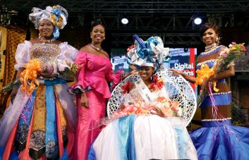 Secretary for Tourism, Culture and Transportation Councillor Nadine Stewart-Phillips, second from left, in the company of the top three contestants in the Ms. Heritage Personality queen show. The contestants are, from left, first runner-up Garve Sandy of the Buccoo Academy of Performing Arts; Ms Heritage Personality 2017 Camryn Bruno (Mason Hall Village Council); and second runner-up Kennecia Andrews (Mt St George).