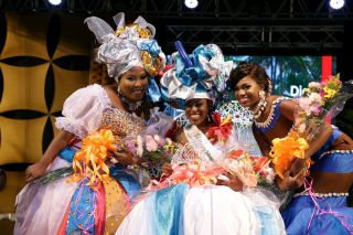 Ms Heritage Personality 2017 Camryn Bruno (Mason Hall Village Council), centre, holds her crown after winning the title. With her are Garve Sandy (Buccoo Academy of Performing Arts), left, who finished second, and Kennecia Andrews (Mt St George), who was third.