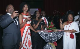 Guests (from left) Deputy Chief Secretary and secretary of Finance and the Economy Joel Jack and his wife Kamaria, Catherine Anthony-Charles and Presiding Officer of the THA Assembly Legislature Dr Denise Tsoiafatt-Angus toast to the nation's 55th anniversary of Independence.