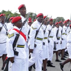 The women of the Defence Force march during the Parade.