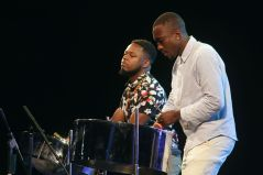 O Jay and Kersh Ramsey thrill with the steelpan.