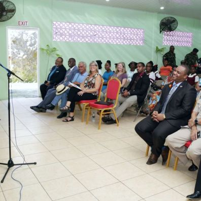 THA Chief Secretary Kelvin Charles addresses attendees during the ceremony.