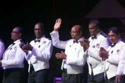 Commissioner Stephen Williams and members of his executive thanks the audience for attending the concert.