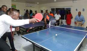 Area representative and Assistant Labour Secretary Shomari Hector and and Secretary of Sports and Youth Affairs Jomo Pitt play a game of table tennis.