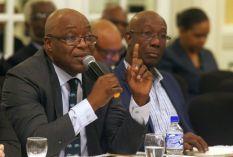 Chief Secretary Kelvin Charles speaks during the meeting at Magdalena.