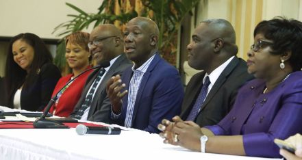 From left, Minister of Tourism Shamfa Cudjoe, Minister of State in the Office of the Prime Minister Ayanna Webster-Roy, Chief Secretary Kelvin Charles, Prime Minister Dr Keith Rowley, and Minister of Planning and Development Camille Robinson-Regis.