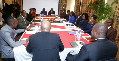 The ministerial team accompanying Prime Minister Dr Keith Rowley holds a meeting with THA officials at the Magdalena Grand Beach and Golf Resort.