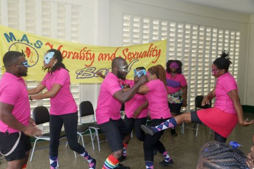 Members of the SSU caravan perform for the edutainment of the students.