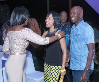 Prime Minister Dr. Keith Rowley, right, and his wife are greeted on their arrival by Catherine Anthony-Charles, left, the wife of Chief Secretary Kelvin Charles, who is also in photo.