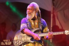 Veteran guitarist Glen Browne, one of Tarrus Riley's band members, clearly enjoyed his time onstage.